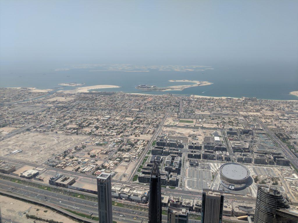 dubai world island view from burj kalifa
