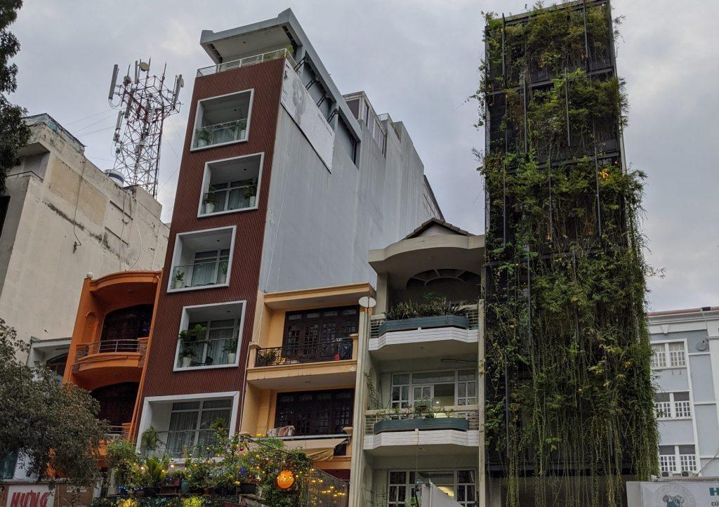 tall and skinny buildings of saigon vietnam