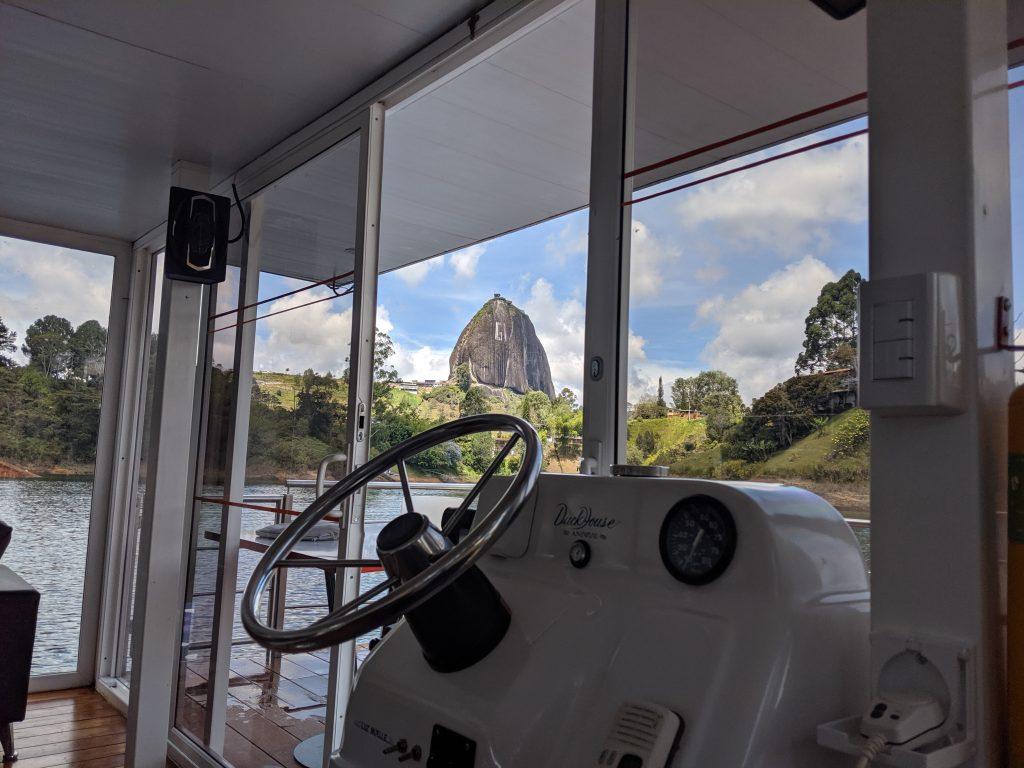 el piedra de peñol in guatape from boat view