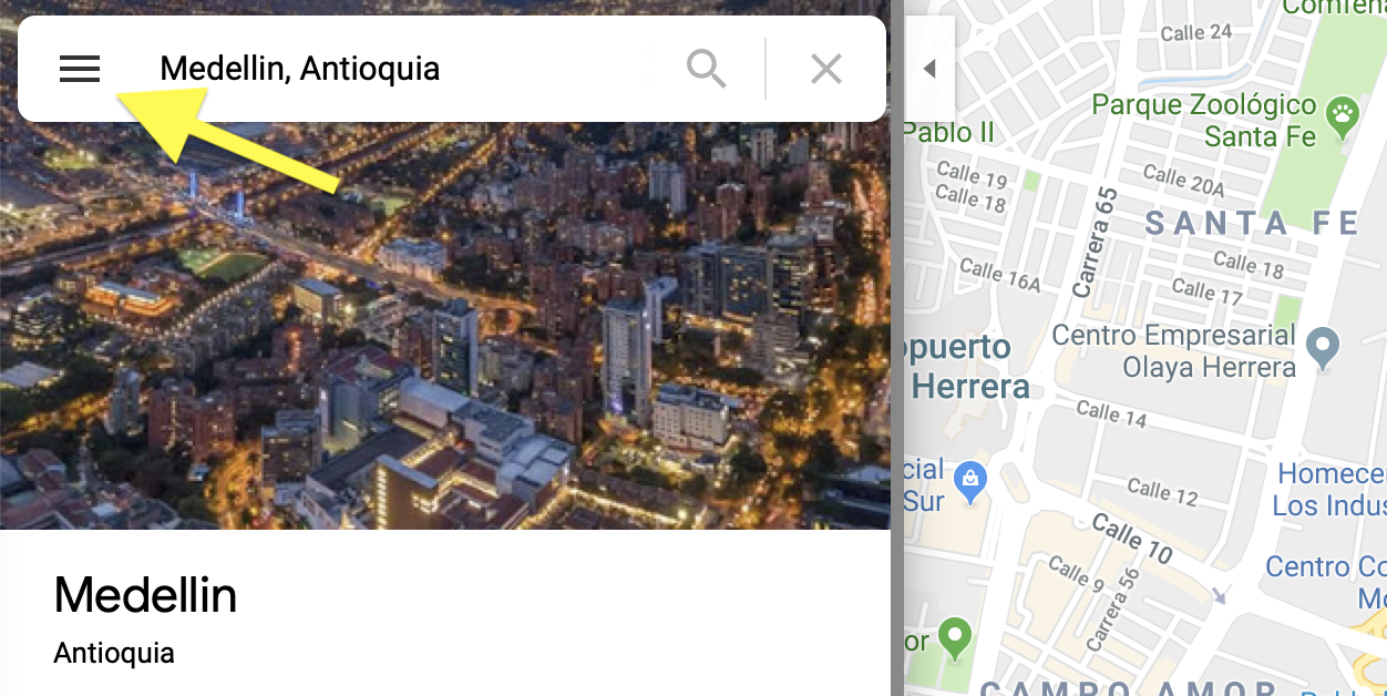 Hamburger menu bar google maps copy