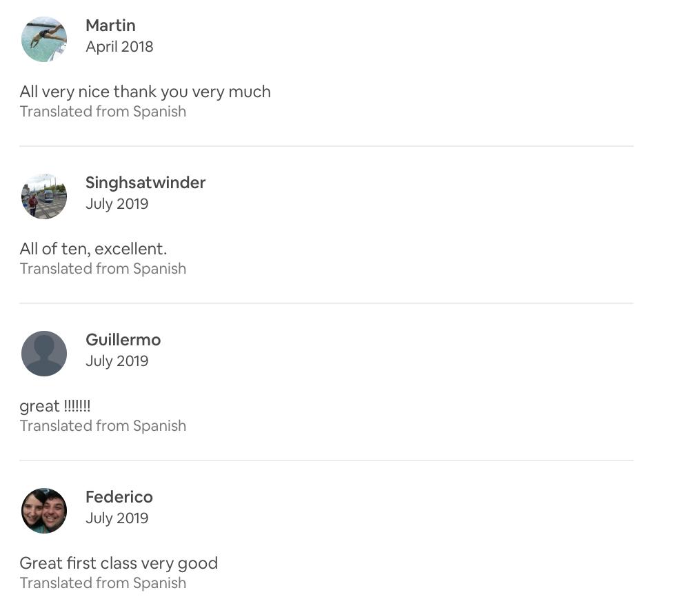 short Airbnb reviews
