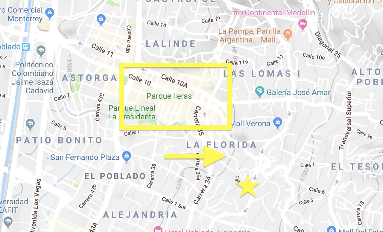 terrain topagrpahy google map meddelin colombia