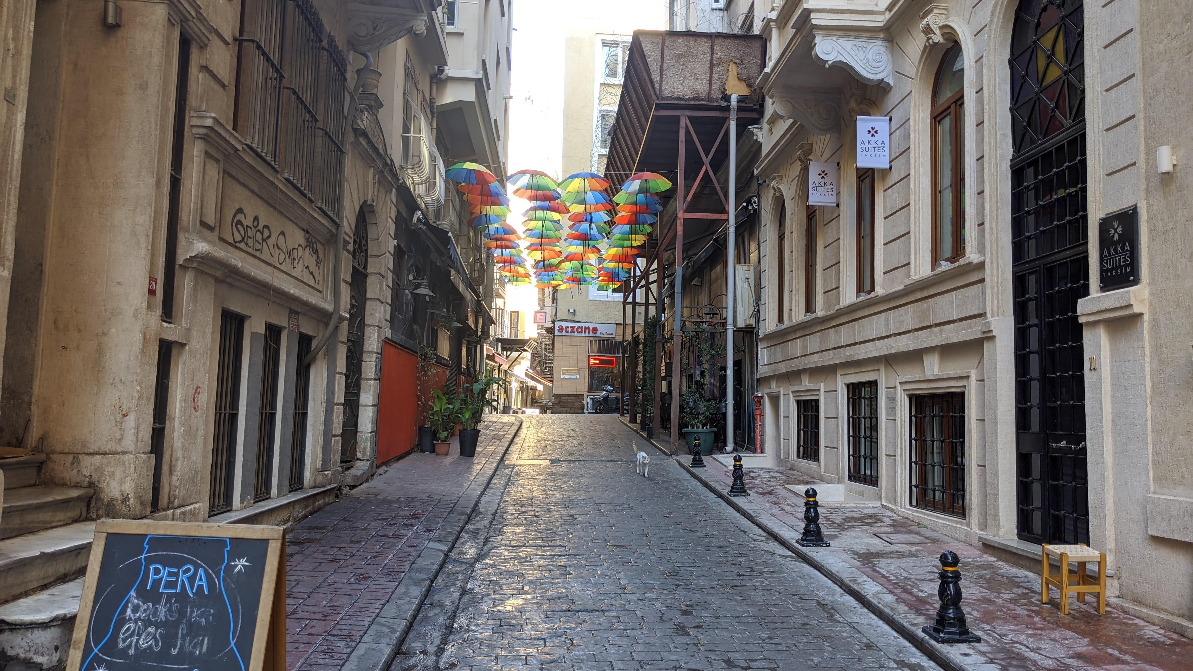 neat walk streets in istanbul turkey with umbrella decoration