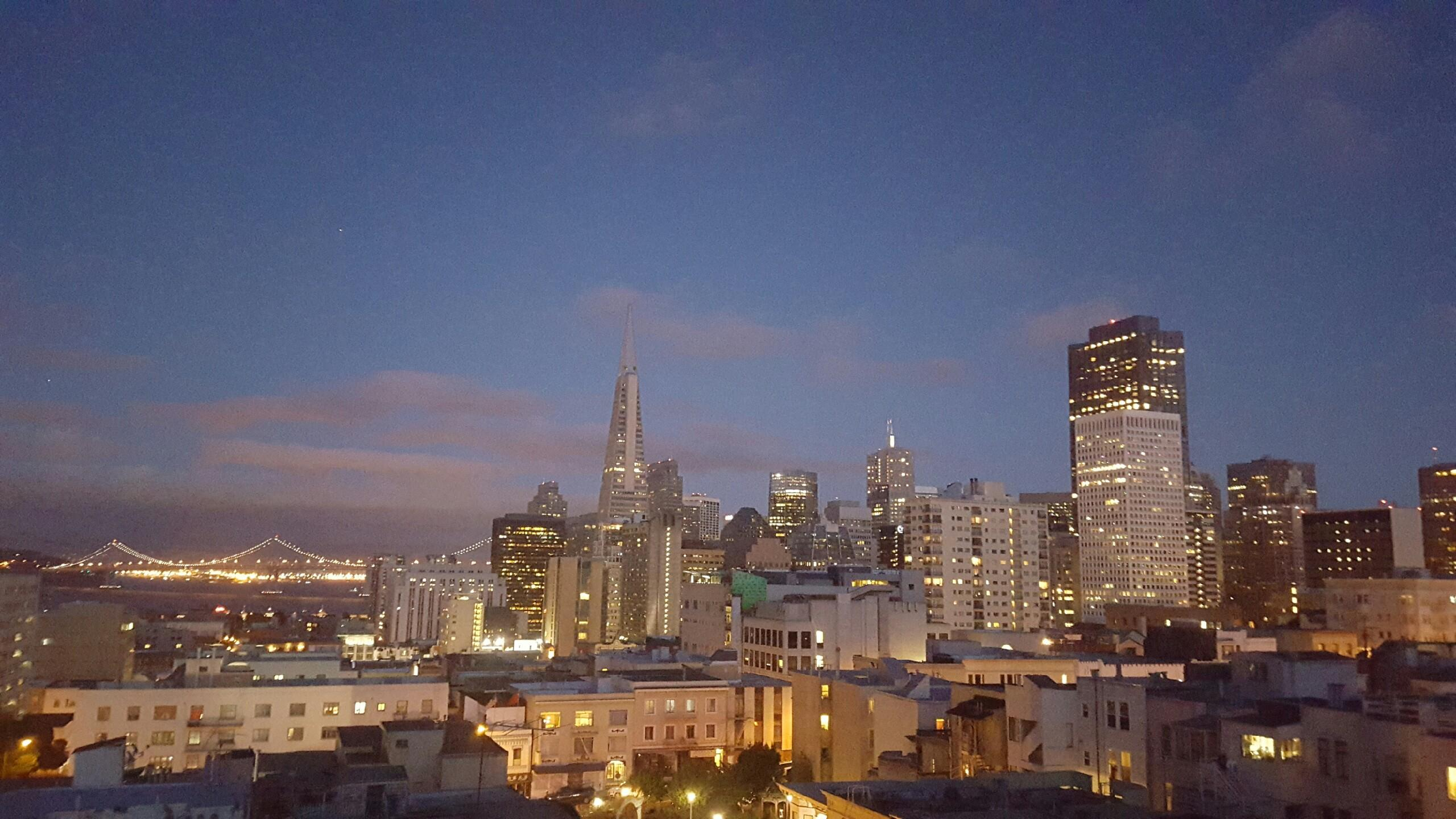 san francisco evening skyline coit tower bay bridge lights