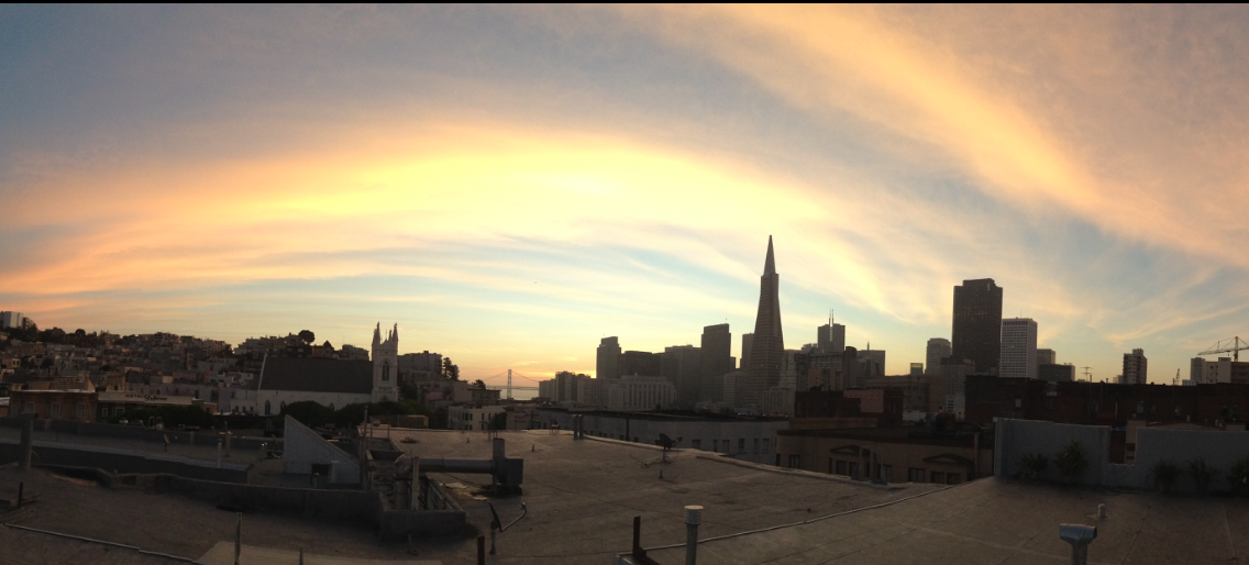 san francisco evening skyline coit tower