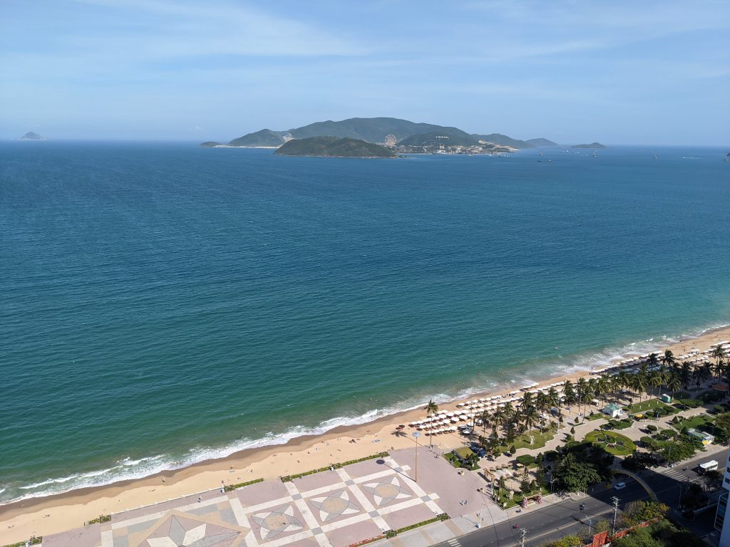 nha trang view of vinpearl from panorama bulilding