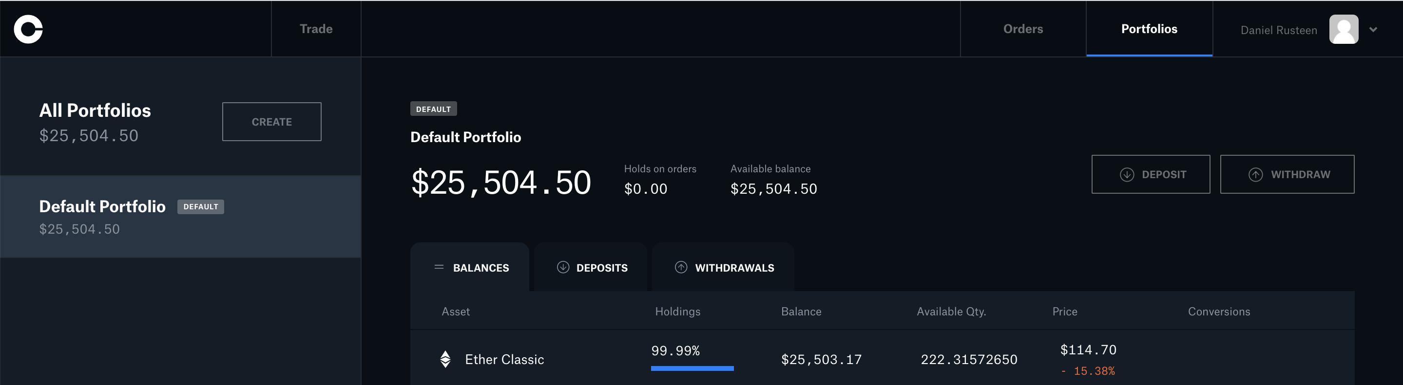 coinbase pro crypto trading platform dashboard portfolio etherium classic